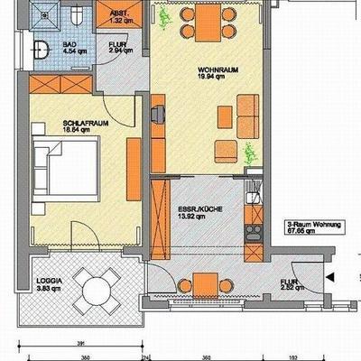 Dreiraumwohnung mit 67,7 qm